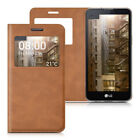 WINDOW SYNTHETIC LEATHER FLIP COVER FOR LG X SCREEN COGNAC CASE SLIM BACK SHELL