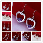 15 Types 925Sterling Silver Zircon Snow Heart Star Pendant Women Drop Earrings