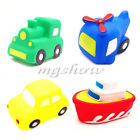 4 X Baby Vehicles Bathtime Floating Squeaky Sqeeze Bath Toys Water Play Gift