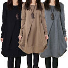Fashion Women Long-Sleeve Plus Size Round Neck Warm Loose Dress Fold