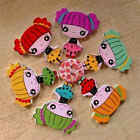 20/50pcs Mixed Cartoon Girl Design Eco-friendly Floral Painting Wooden Buttons