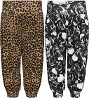 Womens Plus Leopard Animal Skull Print New Ladies 3/4 Harem Pants Trousers 12-26