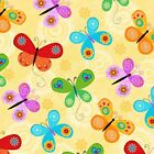 FLIGHT OF FANCY BUTTERFLY YELLOW QUILT SEWING CRAFT FABRIC Free Oz Post