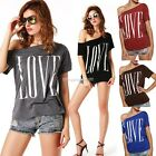 Women lady Short Sleeve one Shoulder t-Shirt Blouse Loose print Top Tee pullover