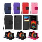 For LG X Power Premium Leather Wallet Case Cover Flip Stand w Card Holder Strap