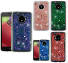 For Motorola Moto E4 Liquid Glitter Quicksand Hard Case Phone Cover Accessory