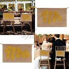 "9""x14"" Gold Mr&Mrs Burlap Banner Chair Sign for Rustic Wedding Party Decorattion"