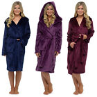 Foxbury Women's Plush Shimmer Fleece Hooded Bath Robe