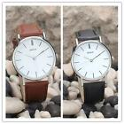 Round Dial Men Women Quartz Watches Oversize Movement PU Leather Couple's Watch.