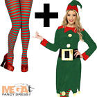 Elf + Tights Fancy Dress Santas Helper Xmas Christmas Party Womens Costume New