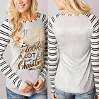 Xmas Gift Women Christmas Double Color Printed Long Sleeve Crew Neck T-shirt