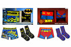 Boys Batman & Superman Boxer Shorts & Socks Gift Box Set Licensed DC Comics
