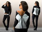 HX New Fashion Women Back Zipper Black &White Hoodie Top Fall Long Sleeve Blouse