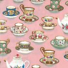 Royal Tea Party Cups Saucers Pot 100% Cotton Poplin Fabric Patchwork (FF)