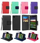 For Alcatel Idol 4 Leather Wallet Case Cover w/ Tempered Glass Screen Protector