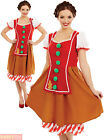 Ladies Miss Gingerbread Costume Adults Christmas Fancy Dress Womens Xmas Outfit