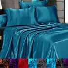 3 Pc Satin Silky Sheet Set Queen/King Size Fitted Pillow Cases 500TC (10 Colors) image