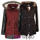 Womens Hooded Fur Trim Parka Jacket Ladies Long Winter Fishtail Coat Jacket