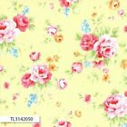 ANTIQUE FLOWER PASTEL 2016 MAIN ROSE YELLOW QUILT SEWING FABRIC Free Oz Post
