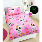 Glow in the Dark CANDY SKULL Pink Girls Quilt Cover Set - ALL SIZE