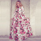 Boho Women Floral Printed Long Sleeve Long Maxi Party Cocktail Evening Dress EW