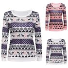 Xmas Women Stylish  Casual Long Sleeve Print Pullover Slim Warm Sweatshirt Charm