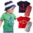 Toddler Baby Boy Short Sleeve Top T-shirt+Striped Shorts 2PCS Outfit Set Clothes