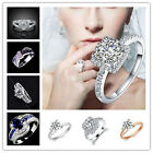 Women Fashion Gold/Silver Plated Crystal Bridal Engagement Ring Size 7,8,9