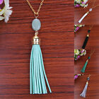New Necklace Long Chain Oval Nature Stone Pendant Jewelry Velvet Leather Tassel