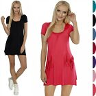 Glamour Empire. Women's A-line Dress Short Sleeves Front Pockets Scoop Neck. 130
