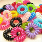 10/100X Girl's Elastic Phone Cord Rubber Hair Ties Band Rope Ponytail Holder EW