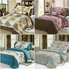 New Floral Queen Size Bed Quilted Bedspreads Coverlets Set Bed Linen 100% Cotton
