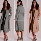 Ladies Italian Waterfall Belted Celeb Style Long Sleeve Coat ONE Size 8-14 N4U8