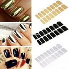 New 16PCS Women Foil Nail Art Stickers Solid Glitter Nail Decal Sticker N4U8