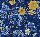 SUNDAY FLOWER MAIN FLORAL BLUE QUILT SEWING FABRIC Free Oz Post