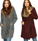 Womens Faux Fur Cardigan Jacket Ladies Belted Ribbed Pockets Long Sleeve 8-14