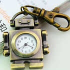 Steampunk Bronze Robot Quartz Pocket Watch Charm Key Chain Useful