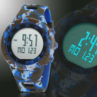 Ohsen Men Boy Date Alarm Green Camo Backlight Silicone Digital Sport Wrist Watch