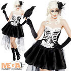Skeleton Ladies Fancy Dress Halloween Day of The Dead Zombie Womens Costume New