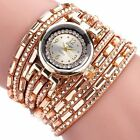 Fashion Women Multilayer Leather Wrap Dress Crystal Bracelet Quartz Wrist Watch