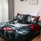 Skull Doona Duvet Quilt Cover Set Single Queen Size Bed Goth Mask Pillowcase New