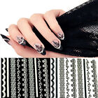 30 Sheets Lace Nail Art Stickers Black White Tips Decal DIY Manicure Sanwood