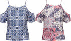 Womens Paisley Crop Top Ladies Strappy Cut Out Cold Shoulder Short Sleeve Print
