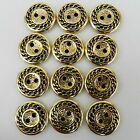 5 x gold chain patterned buttons 2 holes  sizes 15mm & 18mm