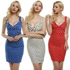 Women Deep V-Neck Sleeveless Polka Dot Slim Fit Bodycon Dress EN24H