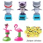 Solar Dancing Power Toys Shark Flamingo Shake Head + Emoji Keychain US Seller