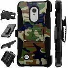 For LG / HTC Rugged Cover Holster Hybrid Case GREEN BROWN CAMO LuxGuard