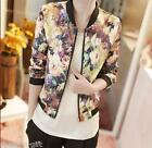 HX Women Fashion Floral Zipper Slim Coat Short Jaket Winter Fall Outwear Tops