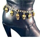 Gold Skull Boot Bracelet Chain Bling Jewelry Motorcycle biker Charms One or Pair