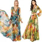 Women V-Neck #C Tropical Boho Floral Print Chiffon Maxi Beach Long Full Dress